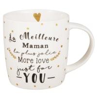 Taza de porcelana blanca y negra Mum Family