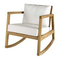 Teak and white fabric rocking armchair Alpin