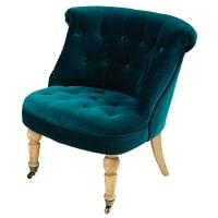 Teal blue tufted velvet armchair Constantin