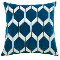 ASTON - Teal Velvet Cushion with Jacquard Print 60x60