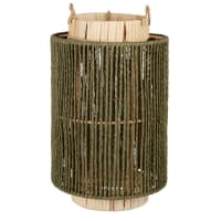 JANNA - Tealight in green, beige and white woven rope and rattan