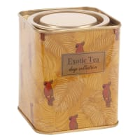 Teebox aus senfgelbem Metall, bedruckt mit tropischem Motiv