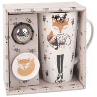 Teeset aus Fayence, bedruckt mit Fuchsmotiv Lola