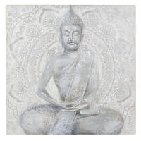 MAHA - Tela dipinta grigia statua, 120x120 cm