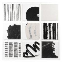 OPHELIE - Tela dipinta nera, bianca e grigia 70x70 cm