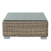 Tempered glass and wicker garden coffee table W 76cm St Raphaël
