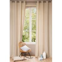 Tenda beige in lino slavato con occhielli, al pezzo, 140x300 cm