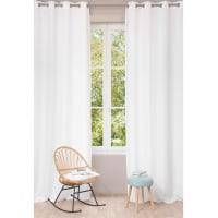 Tenda bianca in lino slavato con occhielli, al pezzo, 130x300 cm