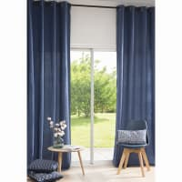 Tenda con occhielli in lino lavato blu navy, al pezzo, 130x300