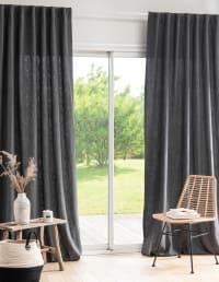 PERALDI - Tenda con passanti cotone e ramiè antracite 135x270 cm al pezzo
