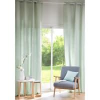 Tenda verde chiaro in lino lavato con occhielli, al pezzo, 130x300 cm