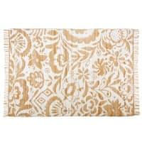 Teppich aus Jute und Baumwolle mit weißen Motiven 160x230