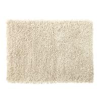 Teppich aus Wolle und Baumwolle in Ecru mit Shaggy-Effekt 140x200 Hygge