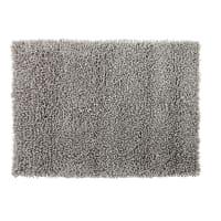 Teppich aus Wolle und Baumwolle in Grau mit Shaggy-Effekt 160x230 Hygge