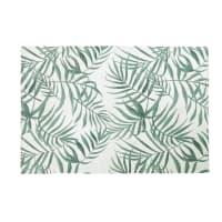 Teppich in Ecru mit grünem Pflanzendruck 140x200 Utopia