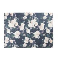 Teppich in Rosenrot und Schwarz mit Blumenmotiv 140x200 Alba