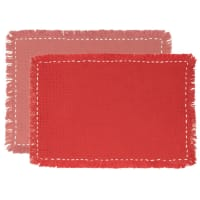 ALVARO - Set of 4 - Terracotta and Pink Cotton Placemats (x2)