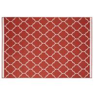 Terrakottafarbener Outdoor-Teppich mit grafischen Motiven 160x230