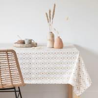 BAGGE - Tischdecke aus beschichteter Baumwolle, beige und goldfarben, 150x250cm