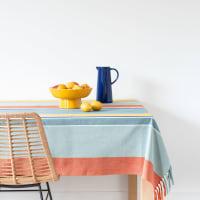 BALLITO - Tischdecke aus Webbaumwolle mit buntem Streifenmuster, 130x210cm