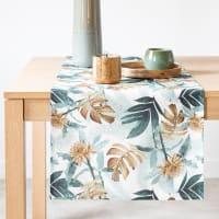 MIHIRAU - Tischläufer Bio-Baumwolle mit Blättermuster, 48x150cm