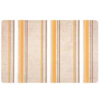 Set aus 12 - Tischset aus Polypropylen, beige, grau und gelb mit Streifenmotiven