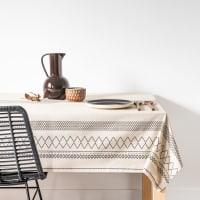 DESIMA - Toalha de mesa em algodão biológico estampado cinzento e bege 150x250