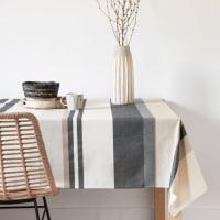 SMORS - Toalha de mesa revestida em tecido de algodão com motivos às riscas em cru, bege e preto 140x250
