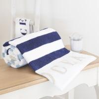 Toalla de ducha azul de rayas de algodón 70 × 140cm Océan