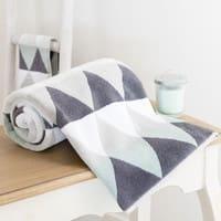Toalla de tocador blanca/gris de algodón 30 × 50cm Triangle