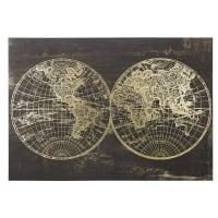 MARSHALL - Toile imprimé carte du monde noire et dorée 130x90