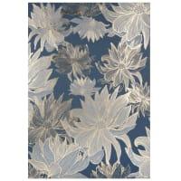 KLARA - Toile imprimé fleurs bleue, grise et dorée 63x90