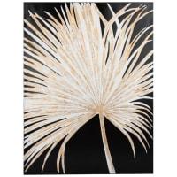 Toile noire imprimé palme blanche et dorée 60x80