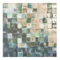 Toile petits carreaux verts et dorés 80x80 Squares