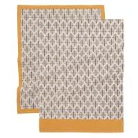 LAIKA - Torchons en coton beige et gris imprimé 50x70 (x2)