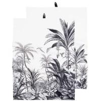 PARADISE - Torchons en coton bio imprimé tropical blanc et noir (x2)