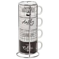 Torre 4 tazze espresso in maiolica nera e bianca Alice