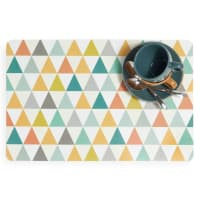 Tovaglietta multicolore in plastica a motivi triangolari Vintage