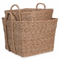 2 square woven baskets L 39 cm and L 45 cm Tribu