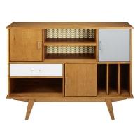 Tricoloured Vintage Pine 1-Drawer 3-Door Bookcase Paulette