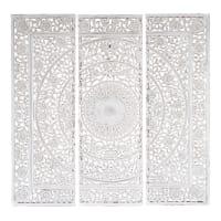 Triptychon  aus Holz, 150 x 150cm, weiß Andaman