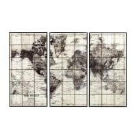 Triptyque carte du monde en céramique noire 189x125 Lindbergh