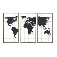 LEISTON - Triptyque carte du monde en métal noir et sapin 159x102
