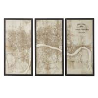 Trittico cartina di Londra, 180x120 cm Bradshaw