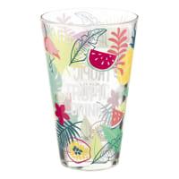 Tropical Print Glass Mug Tropic Drink