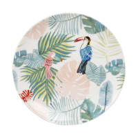Tropical Print Porcelain Dessert Plate Cacatoes
