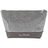 Trousse de toilette grise à paillettes argentées