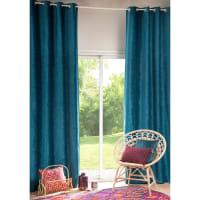 Türkisblauer Ösenvorhang, 1 Vorhang 130x300 Vintage Velvet