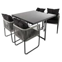 Tuintafel en 4 stoelen, kunststof draad, lengte 107 cm Swann