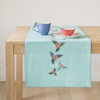 Turquoise Blue Cotton Table Runner with Parrots Print 48x150
